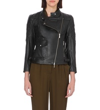 Karen Millen Quilted Panel Leather Biker Jacket Black