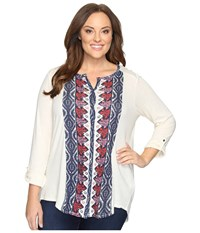 Lucky Brand Plus Size Placed Print Top Natural Multi Women's Clothing