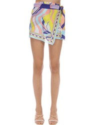 Emilio Pucci Printed Cotton And Silk Wrap Skort Multicolor