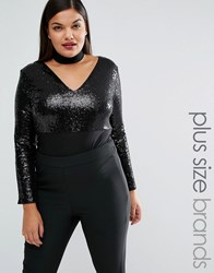 Club L Plus Sequin Body With Removable Choker Black