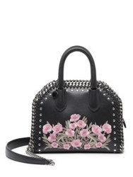 Stella Mccartney Falabella Box Embroidered Faux Leather Top Handle Satchel Black Pink