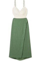 Vix Swimwear Connie Embellished Wrap Effect Linen Blend Midi Dress Green