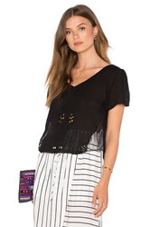 Bishop Young Mesh Insert Short Sleeve Blouse Black