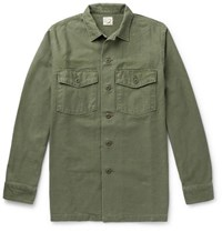 Orslow Slub Cotton Shirt Jacket Army Green