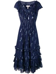Rebecca Taylor Metallic Star Dress Blue