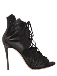 Casadei 100Mm Leaf Suede Open Toe Boots