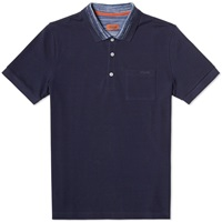 Missoni Space Dyed Collar Polo Navy And Blue