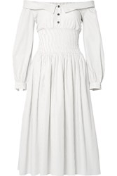 Sandy Liang Marge Off The Shoulder Pinstriped Cotton Poplin Midi Dress White