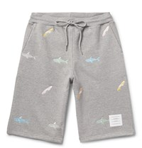 Thom Browne Slim Fit Shark Embroidered Loopback Cotton Jersey Shorts Gray