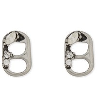 Marc Jacobs Ring Pull Stud Earrings Crystal Antique Silver