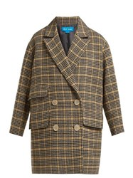 M.I.H Jeans Ryley Double Breasted Wool Blend Coat Beige Multi