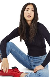 Topshop Women's Variegated Rib Sweater Navy Blue