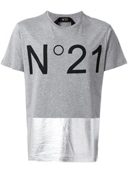N 21 No21 Metallic Panel Logo T Shirt Grey