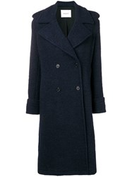 Dondup Double Breasted Coat Blue