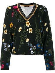 Twin Set Rhinestone Embellished Floral Jumper Black