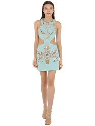 Fausto Puglisi Embellished Wool Crepe Dress W Cut Outs Light Blue