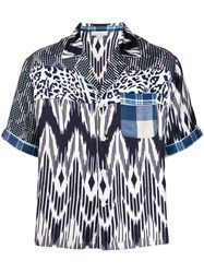 Pierre Louis Mascia Patchwork Print Short Sleeve Shirt Blue