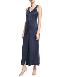 Opening Ceremony Sophie Ruffle Trim Overlap Jumpsuit Deep Navy