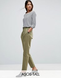 Asos Tall Washed Ultimate Peg Trousers Khaki Green