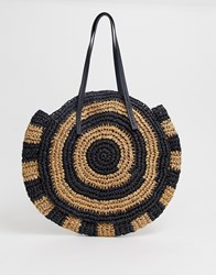 Warehouse Circle Shopper Bag In Black And Tan