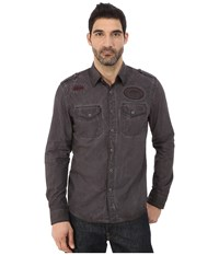 Affliction Garage Built Motors Slim Fit Long Sleeve Shirt Dark Brown Tint Wash Men's Long Sleeve Button Up Gray