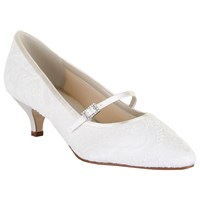 Rainbow Club Bridget Kitten Heeled Mary Jane Pumps Ivory Satin