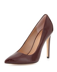Halston Shirley Pointed Toe Patent Leather Pump Burgundy Red