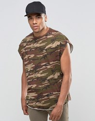 Asos Super Oversized Sleeveless T Shirt In Vintage Khaki Camo With Disconnected Neck Khaki Blue