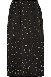 Adam By Adam Lippes Grommet Embellished Satin Midi Skirt Black