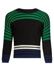 Raf Simons Cropped Striped Wool Sweater Black Multi