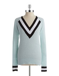 Rd Style V Neck Knit Pullover Blue Crystal