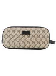 Gucci Gg Supreme Toiletry Case Women Calf Leather One Size Brown