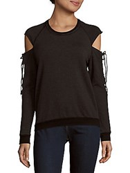 Project Social T Attitude Heathered Cold Shoulder Top Black