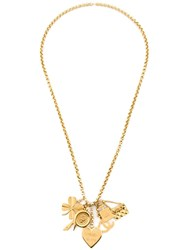 Chanel Vintage Charm Cluster Necklace Metallic