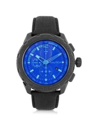 Nautica Nst 101 Black Stainless Steel Case And Leather Strap Men's Chronograph Watch