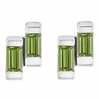 Neola Anais Sterling Silver Stud Earrings With Peridot Green