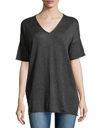 Minnie Rose Short Sleeve V Neck Sweater Charcoal Gray