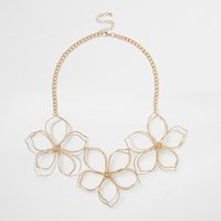 River Island Womens Gold Tone Flower Bib Neklace