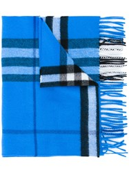 Burberry Classic Check Cashmere Scarf Men Cashmere One Size Blue