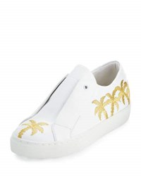 Here Now Beverly Palm Embroidered Sneaker White Gold White Gold