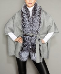 The Fur Vault Fox Trim Belted Wool Cape Grey