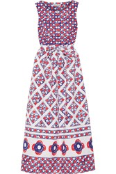Vika Gazinskaya Printed Cotton Matelasse Midi Dress Red Blue