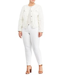 Lauren Ralph Lauren Plus Collarless Denim Jacket Natural