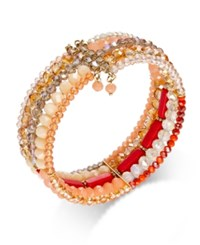 Inc International Concepts Gold Tone Orange Beaded Multi Row Bracelet Only At Macy's Coral