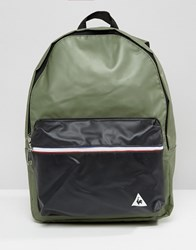 Le Coq Sportif Khaki Leather Look Backpack With Tricolore Trim Four Leaf Clover Multi