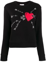Red Valentino Embroidered Love Heart Sweater Black