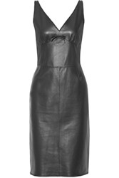 Loewe Bow Embellished Leather Dress Black