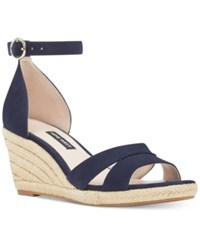 Nine West Jeranna Wedge Sandals Women's Shoes Navy Suede