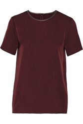 Theory Dantrell Leather Trimmed Silk Top Red
