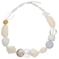 John Lewis Mixed Bead Necklace Cream Clear